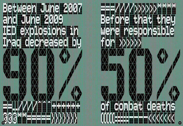 Between June 2007 and June 2009 IED explosions in Iraq decreased by 90%.<br><br> Before that they were responsible for 50% of combat deaths.<br><br>  <a href=&quot;http://images.fastcompany.com/upload/lbsgf_eng_180310_[189]76.jpg&quot;>Click for full size</a>